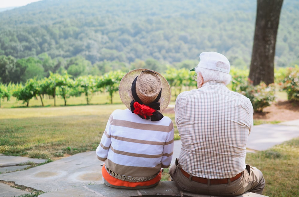 Elderly couple watching the scenery together